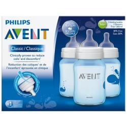 Set De tetero 3 piezas Decorados Azul 9 onzas Philips Avent