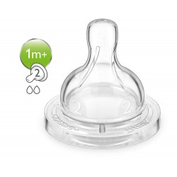Tetina clasica de Flujo lento Nro.2, Philips AVENT libre de  BPA  2 unidades