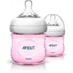 Tetero natural 125ml, 2 Piezas rosa con tetina de flujo recién nacido Philips avent
