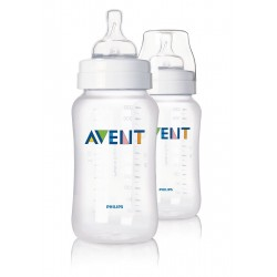 Tetero 11 onzas clasico de polipropileno , 2 unidades libre de BPA AVENT