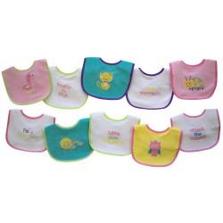 Set de baberos 10 piezas  impermeables y absorbentes, multicolor para Niñas Nojo